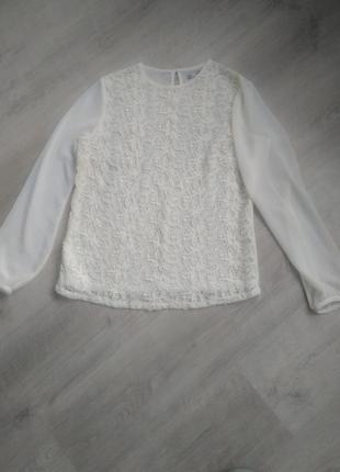 Шифоновая блуза, шитье цвет айвори
