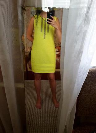 Яркое лимонное платье nenka из льна (размер м)