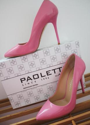 Шикарные новые кожаные розовые туфли лодочки paoletti