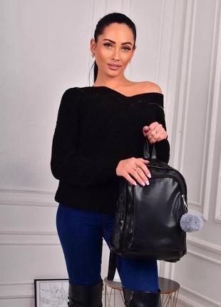 Стильный рюкзак - сумка эко кожа 259251 black