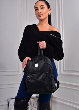 Стильный рюкзак - сумка эко кожа 259199 black