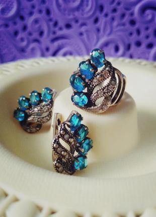 Серебряный комплект с бирюзовыми камнями