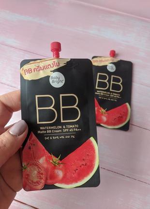 Матирующий bb крем «арбуз и томат» с защитой от солнца spf 45 pa++ от baby bright