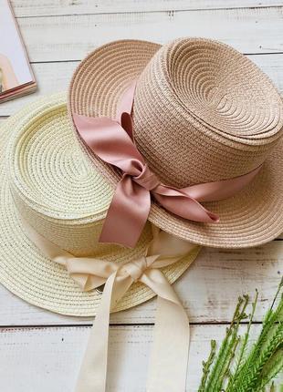 Нежная шляпа с лентой ,соломенная шляпа