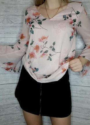 Блуза в цветы нарядная блузка f&f шифоновая блуза розовая рукава воланы
