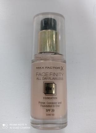 Тoнальный крем тоналка 3 в 1, max factor all day flawless, spf20