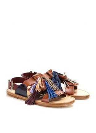 Коричневые кожаные сандалии с кисточками от vero cuoio italy
