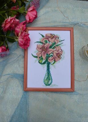 Вишита картина лілеї, лілії, вышитая картина букет лилий, hand made