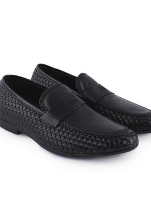 Мужские черные туфли из эко-кожи на каблуке кожаные эко кожа еко шкіряні чёрные