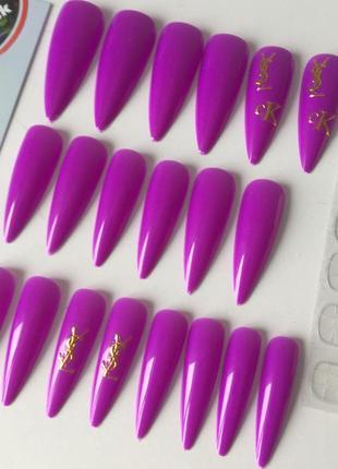 Накладные ногти типсы острая форма фиолетовые когти