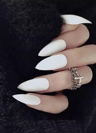 Накладные ногти типсы острая форма белые когти