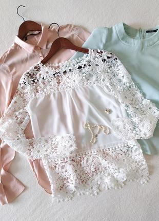 Красивейшая ажурная блуза/топ с длинным рукавом