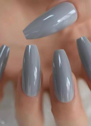 Накладные ногти типсы форма балерина длинные серые