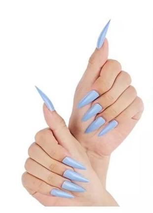 Накладные ногти типсы острая форма длинные голубые