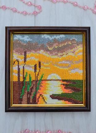 Вишита картина вечірнє сонце, вышитая картина вечер у реки hand made