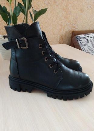 Кожание ботинки на тракторной подошве со шнуровкой