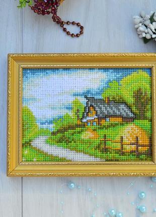 Вишита картина будиночок, хатинка, вышитая картина дом hand made
