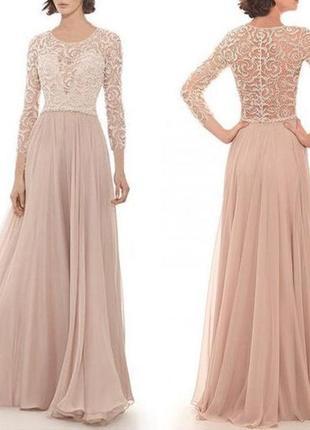 Вечернее платье в пол бежевого цвета закрытое с золотистым кружевом и рукавами 90330
