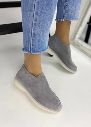 Лоферы туфли женские высокие замшевые серые lux качества 36-41