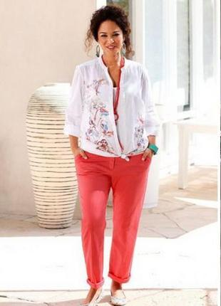 Didi  большой размер! шикарные укороченые алые джинсы брюки чинос р. 50-52 (44)