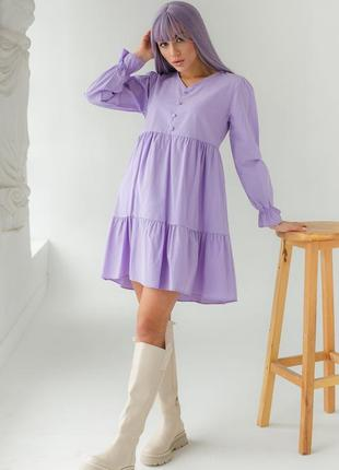 Базовое платье миди воланы высокая талия хлопок турция