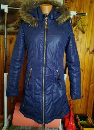 Куртка  синяя енот mr520 длинная