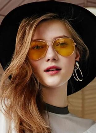 Водительские желтые очки авиаторы капли противотуманные для водителей