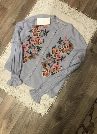 Рубашка с вишивкой, zara