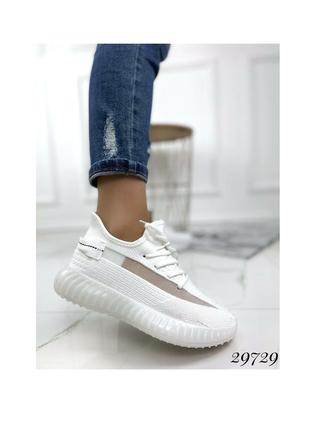 Текстильные кроссовки кеды белые летние демисезонные