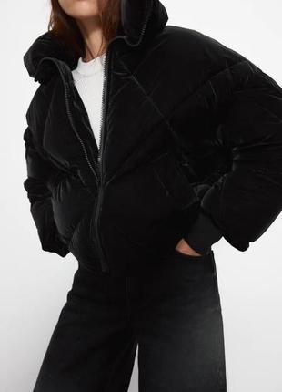 Свежая коллекция теплая стеганая бархатная куртка пуффер пуховик анорак бомбер zara
