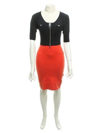 Karen millen трикотажное платье облегающее двухцветное