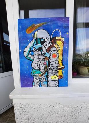 Картина любов в космосе ,70 на 50 см