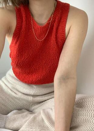 Красный вязаный жилет  h&m красная жилетка вязаная червона вязана жилетка червоний жилет