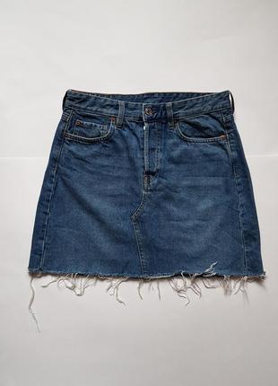 Трендовая джинсовая юбка с необработанным краем,джинсовая юбка с высокой посадкой h&m