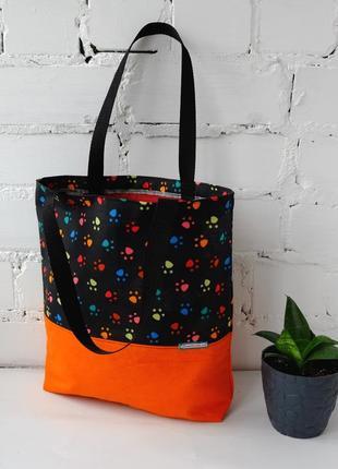 Эко сумка для покупок с лапками, сумка пакет, эко торба, котосумка, шоппер 51(6)