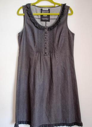 Необычное трендовое ретро серое джинсовое платье с рюшечками винтаж