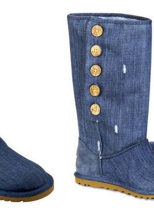 Сапоги джинсовые угги ugg denim distressed button р.37