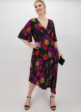 Платье миди с цветочным принтом, платье с запахом