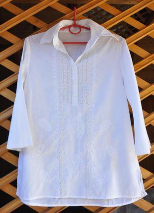 Легкая натуральная белая рубашка pure oxygen. р.s