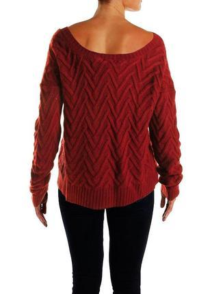 Фактурный свитер (сша) с приоткрытыми плечами (красно-винный) l
