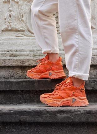 Кроссовки calvin klein orange оранжевые женские