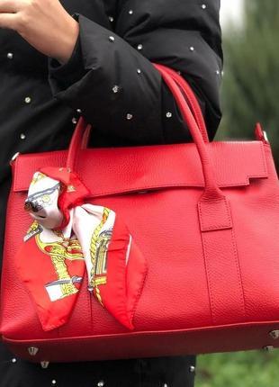Женская красная сумка (натур.кожа) жіноча червона сумка