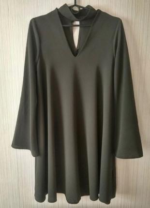 В наличии - оливковое платье с чокером с длинным рукавом *zack* р. l
