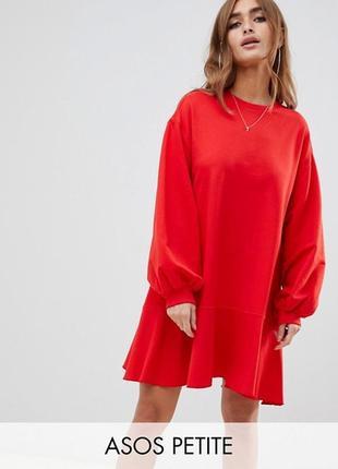 Oversize платье - толстовка красного цвета, объемное платье свитшот asos