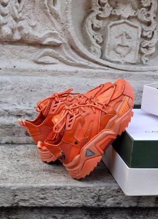 Calvin klein orange {premium} ✰ женские кожаные кроссовки ✰ оранжевого цвета 😻