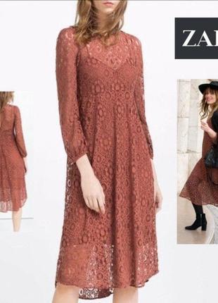 Платье миди zara из красивого кружева.