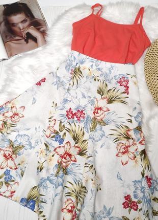 Комплект набор яркая юбка в тропический принт и оранжевая майка