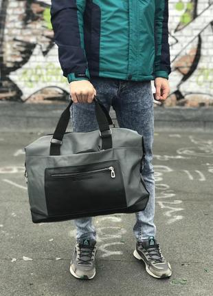 Дорожня сумка (сіра з чорним)