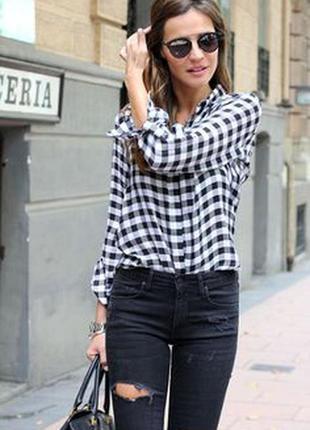 Итальянская стильная рубашка в клетку синяя,белая-l-ка