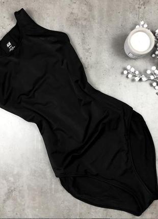 Крутой базовый черный сдельный/цельный/литый купальник h&m